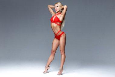 Full body blonde woman
