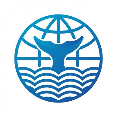 This is the blue whale tail in the ocean logo concept version 4, added a globe world on the top like a combine of the word and ocean. icon