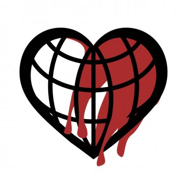 Heart shaped blood globe icon in white background, which is a combination of a heart icon and a globe icon with red blood specks. icon
