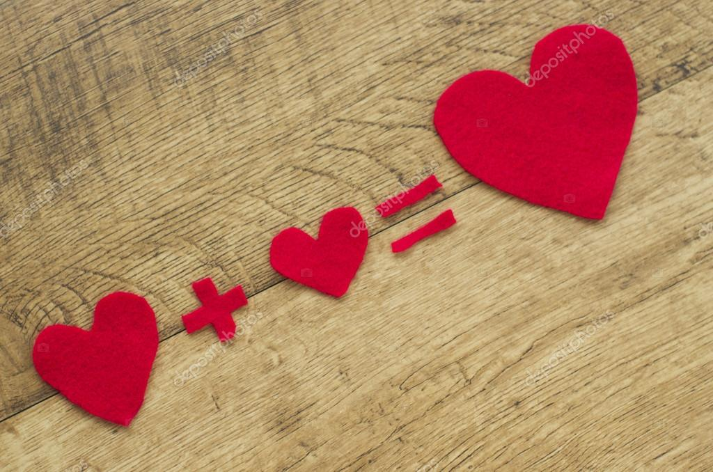 Fall In Love. Equation, Heart Plus Hart Equal Big Red Hart. Wooden  Background