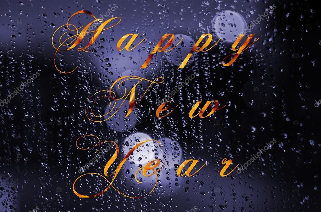 Frohes neues Jahr-Meldung auf ein nasses Glas geschrieben ...