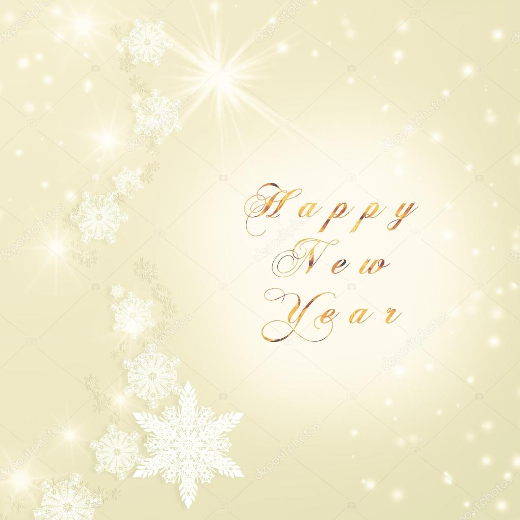 words happy new year written on golden christmas sparkly bright background christmas card