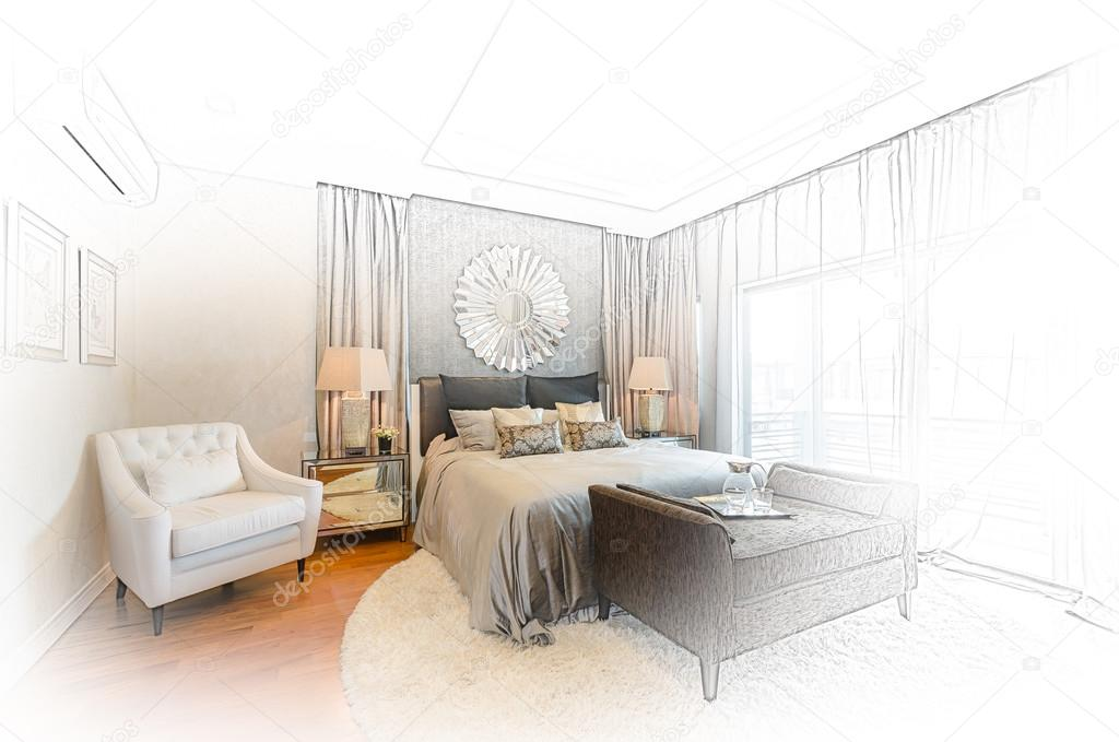 Schets ontwerp van luxe slaapkamer u2014 stockfoto © khongkitwiriyachan