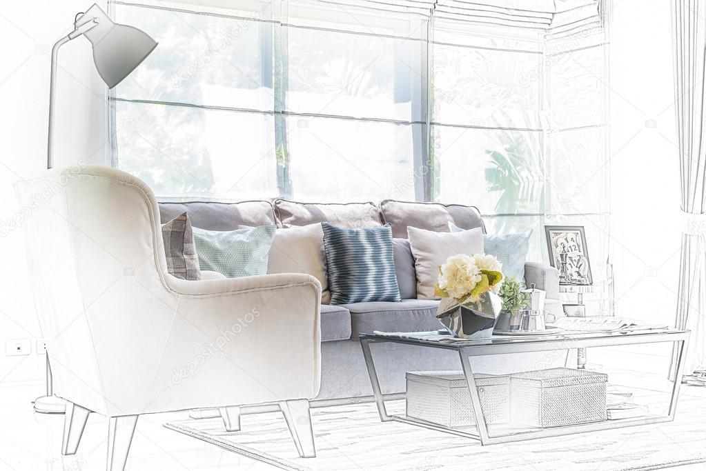 Skizze Design Der Modernen Wohnzimmer Mit Moderner Stuhl Und