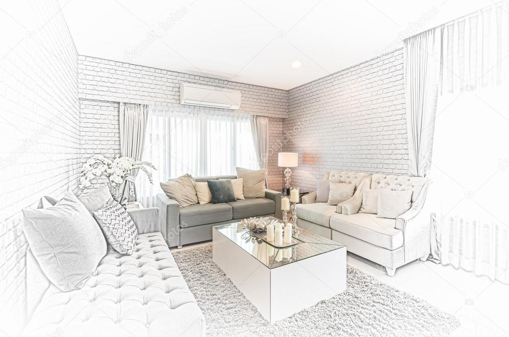 Sketch design of modern living room with modern chair and ...