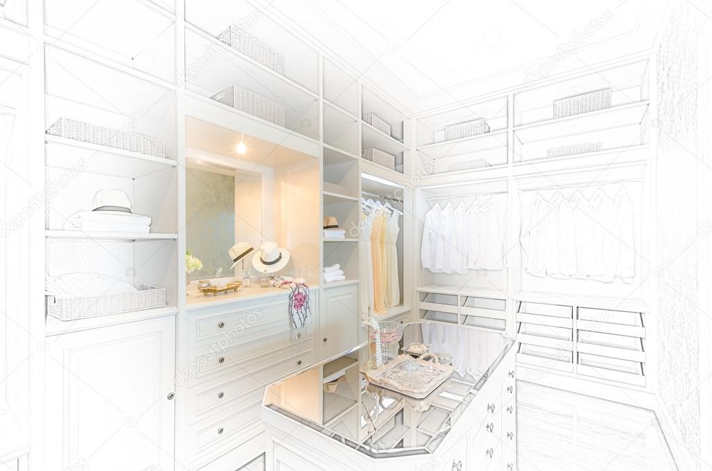 Cabina Armadio Lusso : Disegno di abbozzo di lusso cabina armadio u2014 foto stock