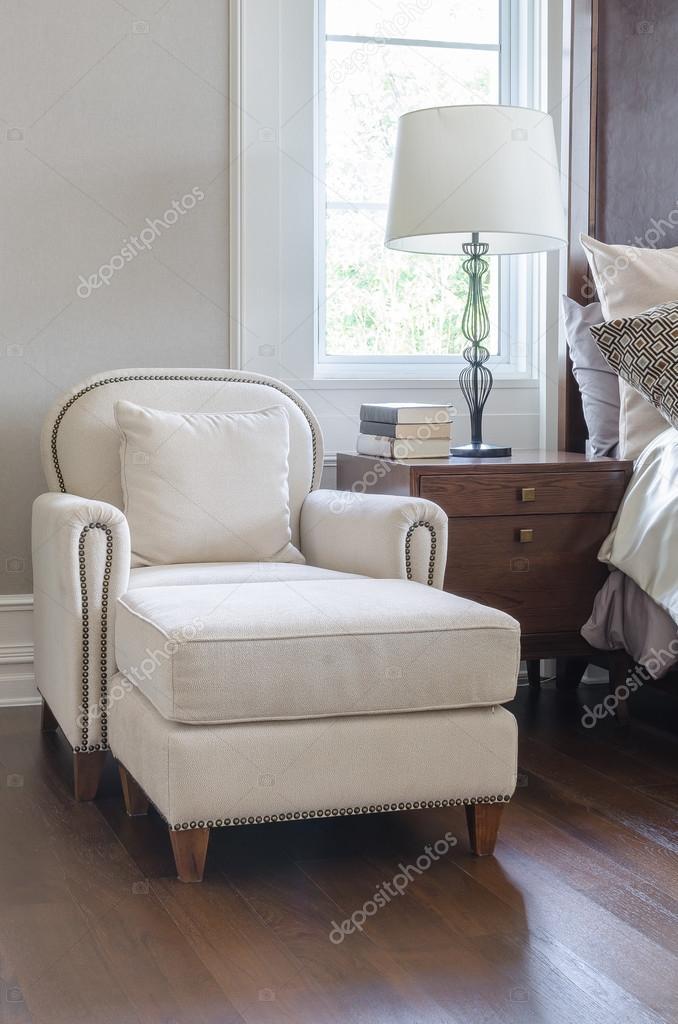 luxury white chair in classic bedroom design — Stock Photo ...