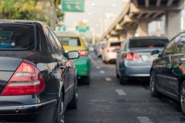 traffic jam on city road in rush hour