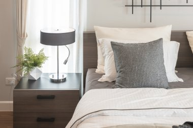 modern bedroom with modern lamp style