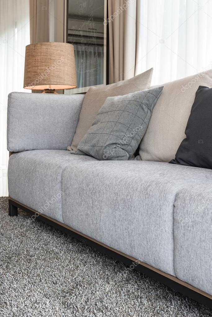 Modern Grey Sofa With Pillows And Modern Lamp On Table Side In L — Stock  Photo