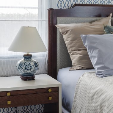 chinese lamp style on table side in luxury bedroom