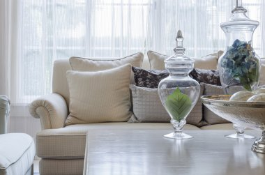 luxury earth tone color sofa in living room at home