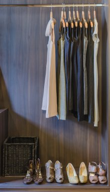 dress and shoes in wooden wardrobe