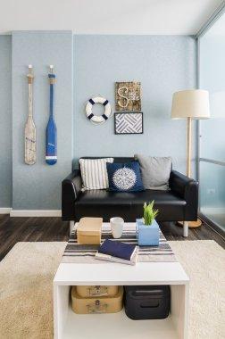 interior design blue  living room