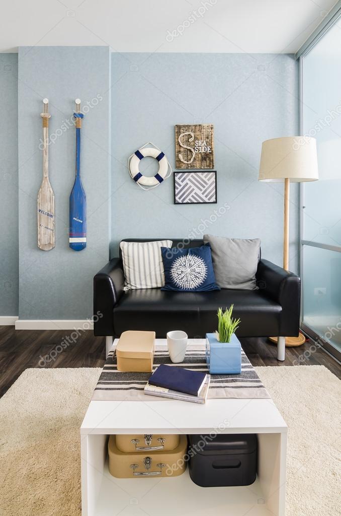 Wohnzimmer Interior Design Blau Stockfoto C Khongkitwiriyachan