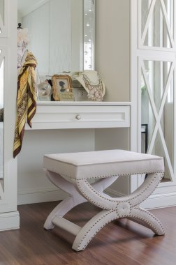 Luxury dressing chair with female's accessories