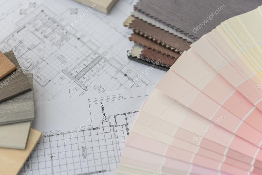 interieur tekenen met materiële kleurenschema — Stockfoto ...
