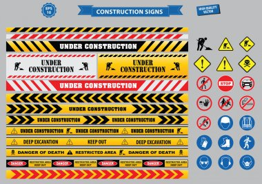 Set of Construction sign