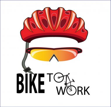 Bicycle helmet and sun glasses bike to work
