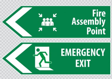 Emergency exit Signs (fire exit, emergency exit, fire assembly point). stock vector