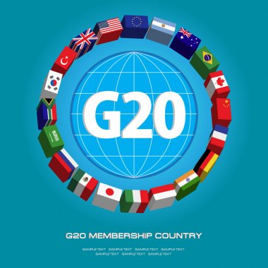 G20 country flags or flags of the world