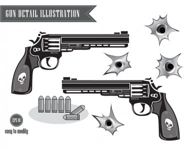 Gun or pistol illustration with bullets and hole, isolated stock vector