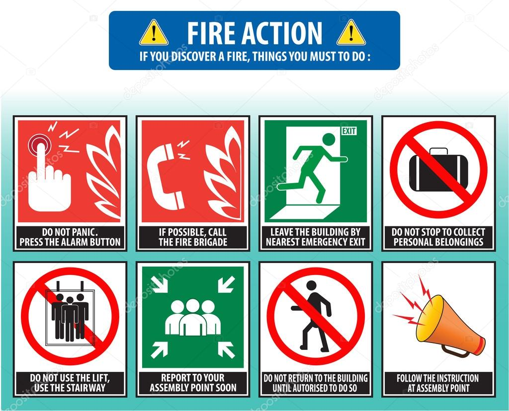 Fire action emergency procedure stock vector coolvectormaker fire action emergency procedure stock vector biocorpaavc Gallery