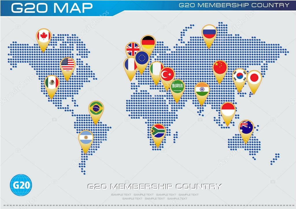 G20 country flags with dotted world map stock vector g20 country flags with dotted world map stock vector gumiabroncs Images
