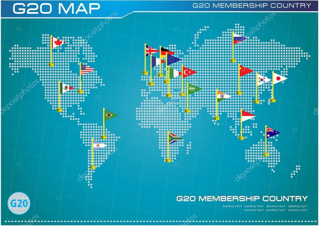 G20 country flags with dotted world map stock vector g20 country flags with dotted world map stock vector gumiabroncs Gallery