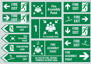 Set of emergency exit Sign