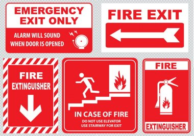 fire warning signs set