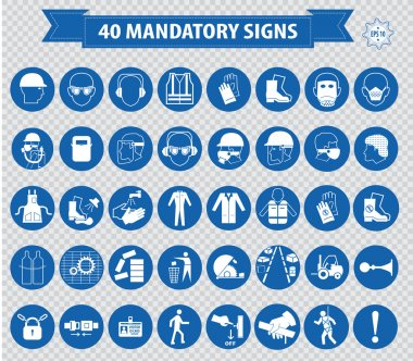 Mandatory signs, construction health, safety sign used in industrial applications. vector illustration stock vector