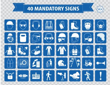 mandatory, construction safety  icons