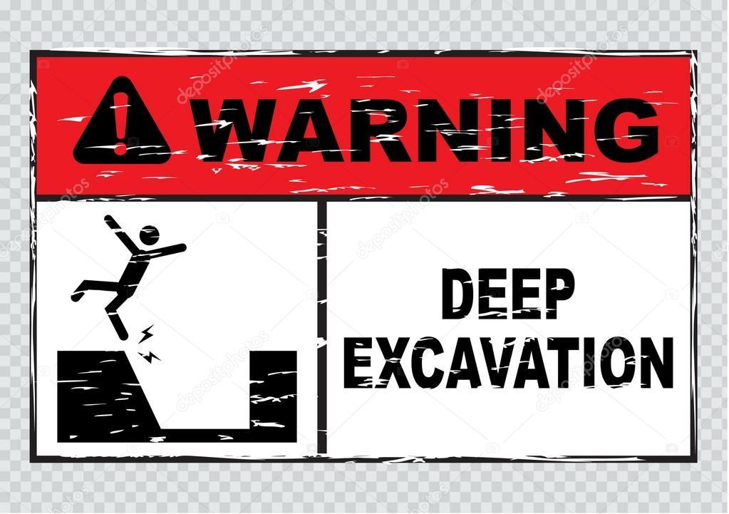 Deep Excavation Warning Sign Stock Vector C Coolvectormaker 73622779