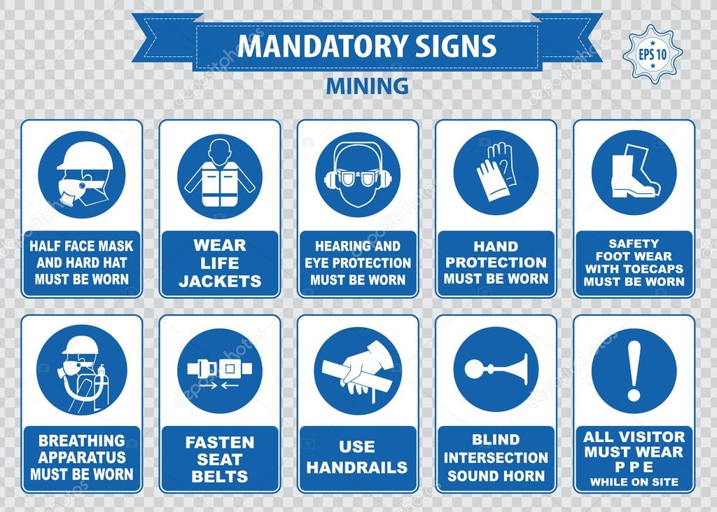 Mining safety icons collection