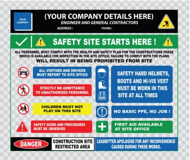 Industrial, construction  site safety signs