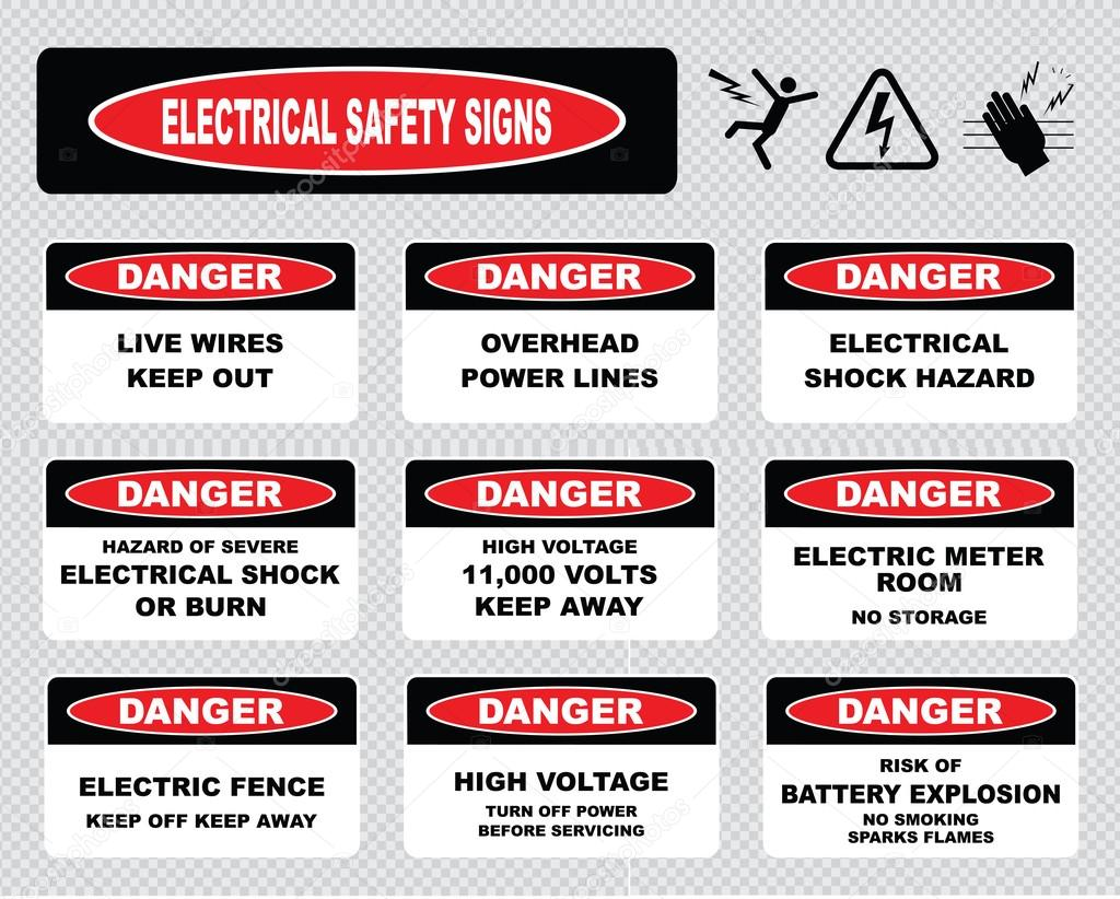 Warning Electrical Safety Signs Stock Vector