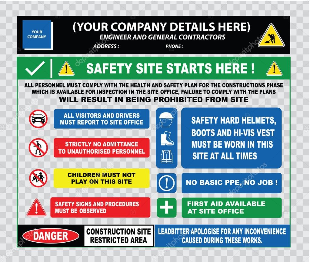 Industrial construction site safety signs Vector – Job Site Safety Plan