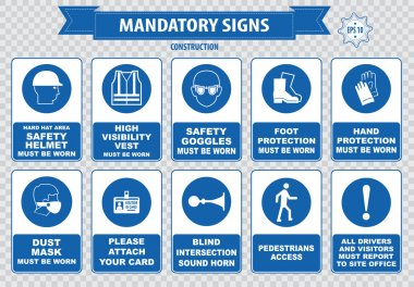 Mandatory signs, construction health, safety signs