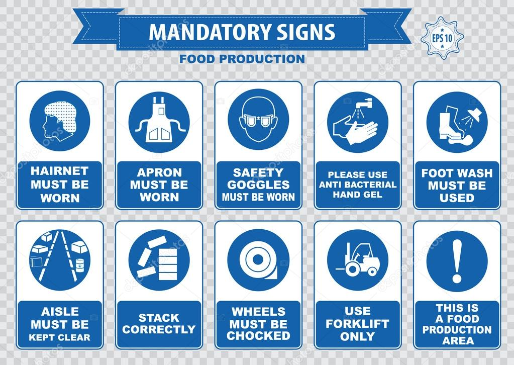 Food production mandatory signs stock vector for De signs