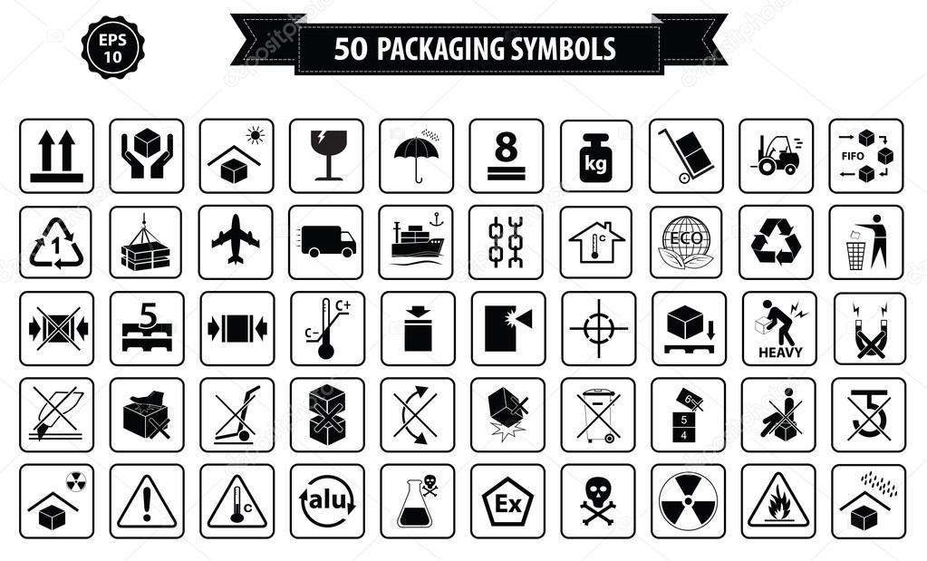 International dishwasher symbols | Set Of Packaging Symbols