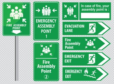 Set of emergency exit Signs
