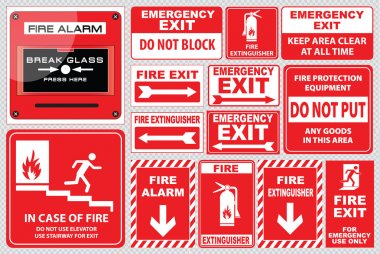 Set of Fire Alarm signs