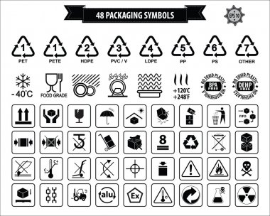Set Of Packaging Symbols (this side up, handle with care, fragile, keep dry, keep away from direct sunlight, do not drop, do not litter, use only the trolley, use fifo system, max carton, recyclable). clip art vector
