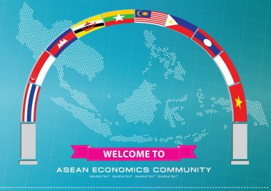 Asean Flag with world map