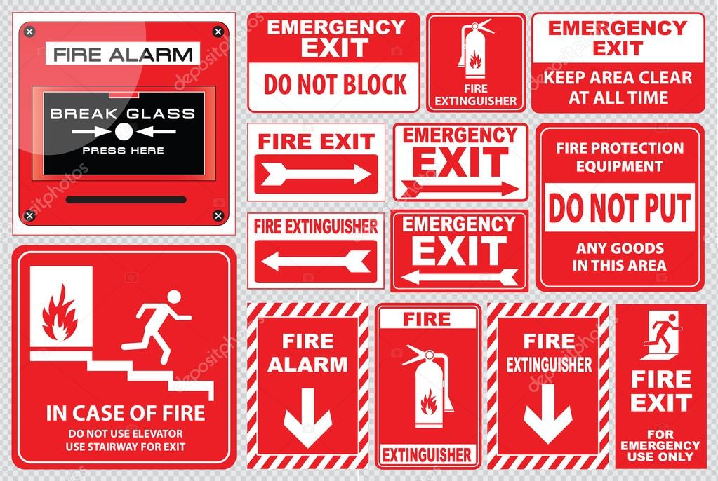 Set of fire alarm signs stock vector coolvectormaker for De signs
