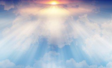 """Картина, постер, плакат, фотообои """"Свет от солнца светит через облака в небе."""", артикул 78250306"""