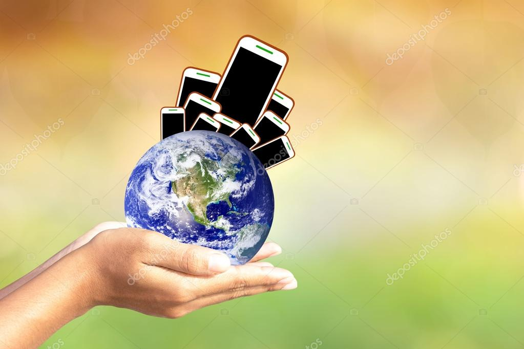 We love the world of ideas.world concept of waste electronic devices the world over. Elements of this image furnished by NASA.