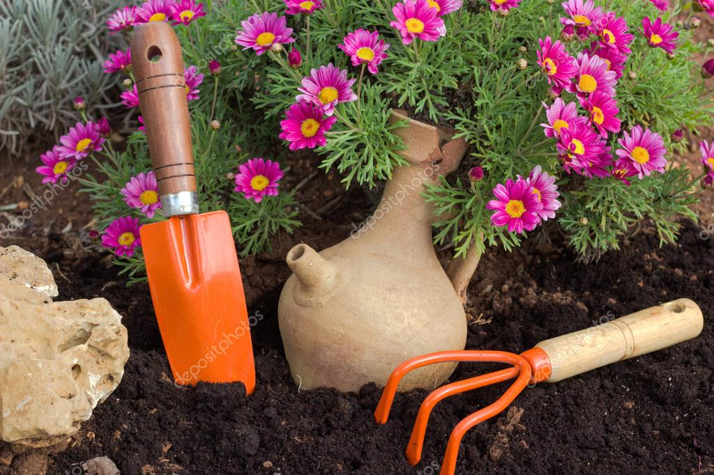 Spring flowers and garden tools.