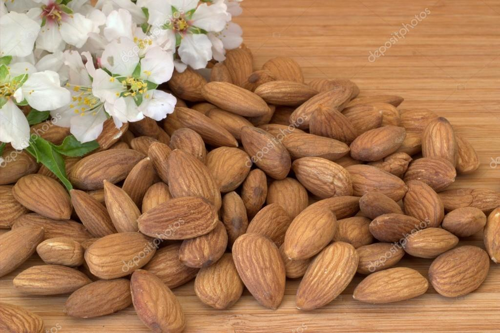 Almonds. Almond blossoms.